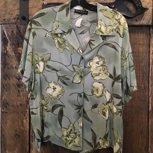 Green button down shirt with design